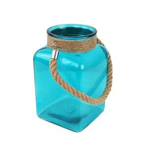 Windlicht, Dekovase aus Glas aqua - Mitienda Shop