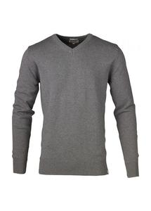 V-Neck Knit Grey Melange - KnowledgeCotton Apparel