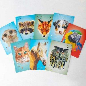 Postkarten-Set 8 Stk Lowpoly Tiere - Printe