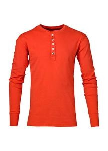 Rib Knit Henley GOTS Aurora Red - KnowledgeCotton Apparel