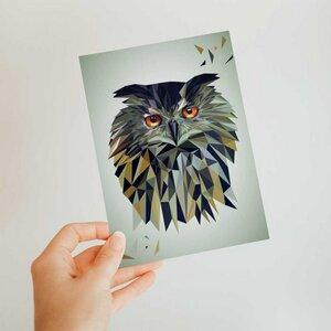 Eule, Postkarte DIN A6 - Printe