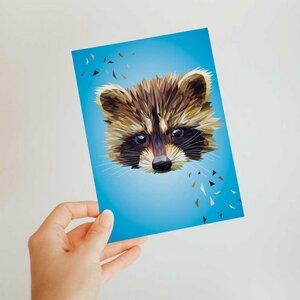 Waschbär, Postkarte DIN A6 - Printe