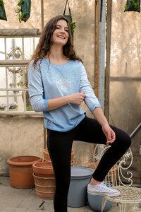 Shirt 3/4-Arm mit Spitze Peaceful von Spirit of OM aus Bio Baumwolle mit energetischen Micro-Edelsteinen - Spirit of OM