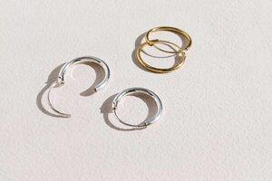 Kleine Creolen Ohrringe (12mm) - 925er Sterling Silber - 14K Gold  - LUXAA