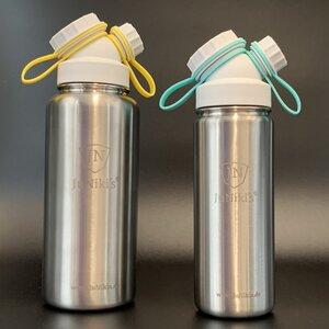 Set: 2 JuNiki´s® eco line isolierte Edelstahl Trinkflaschen mit 550ml + 1 Liter mit Deckelhaltern in Türkis + Gelb zum Wechseln  - JN JuNiki's