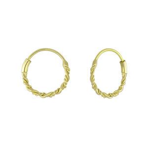 Kleine Creolen Ohrringe geflochten - 925er Sterling Silber - Gold - LUXAA