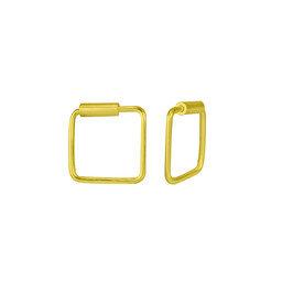 Kleine Creolen Ohrringe Quadrat - 925er Sterling Silber - Gold - 8mm - LUXAA