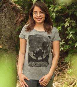 Katze Minka Fauch - Fair Wear Frauen T-Shirt - Mid Heather Grey - päfjes