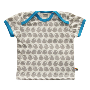 loud+proud Bio Kurzarm Shirt mit steinfarbenen Vogeldruck - loud + proud