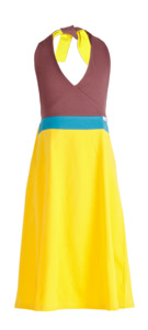 "Neckholderkleid ""Brazil"" Gelb/Petrol/Rosenholz - CHARLE - sustainable kids fashion"