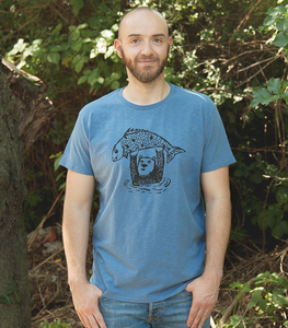 Björn der Bär & Fido der Fisch - Fair gehandeltes Männer/ Unisex T-Shirt - Slub Blue - päfjes
