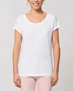 Leichtes Damen T-Shirt in Slub Optik mit gerollten Ärmeln - YTWOO