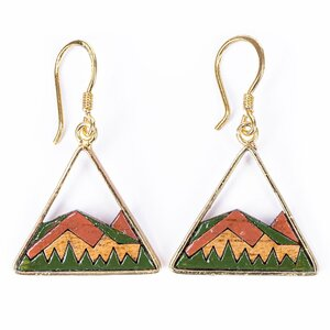 Hill umweltfreundliche Gold Ohrringe aus recyceltem Holz - Paguro Upcycle