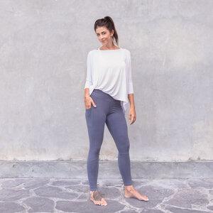 CHELSEA - Damen - High Waist Leggings mit Seitentaschen für Yoga und Freizeit aus Biobaumwolle - Blau - Jaya