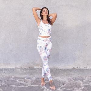 RIA TROPICAL - Damen - Croptop für Yoga aus Biobaumwolle  - Weiß - Jaya