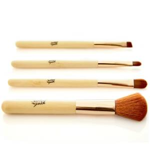 4er Set Make-Up-Pinsel   Kosmetikpinsel Set synthetische Borsten - Bambuswald