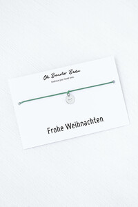 Nylonarmband mit handgeprägtem Herz-Plättchen | recyceltes 925er Sterlingsilber an »Frohe Weihnachten« Karte  - Oh Bracelet Berlin