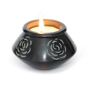 Kerze in Rosenschale aus Speckstein, Teelichtschale - Mitienda Shop