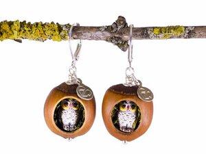 Holzschmuck Haselnuss Echtsilber Ohrringe Eulenfiguren mit Moos #Z257 - Zimelie
