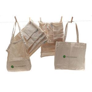 Taschen-Set | 5 Beutel, 5 Netze, 2 Einkaufstaschen | Bio-Baumwolle - samebutgreen