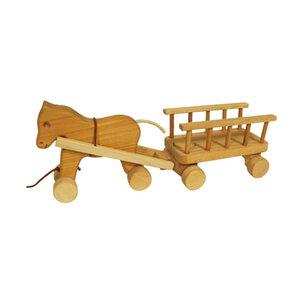 Pferd mit Anhänger aus Holz 46 cm - Mitienda Shop