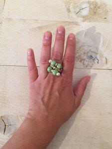 Ella - Kork Ring mit Marmorperle wasserabweisend bunte Farbauswahl. Größen verstellbar - Living in Kork