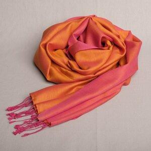 "Schal handgewebt 100 % Seide ""Pink/Orange"" Double Faced aus Nepal - Maheela"