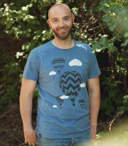 Heißluftballons & Wolken - Fair gehandeltes Männer T-Shirt - Slub Blue - päfjes