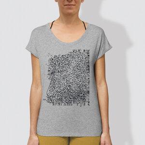 "Damen T-Shirt ""Strichgestöber"", Heather Grey - little kiwi"