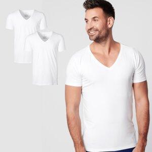 Nachhaltige T-Shirt 2-pack / Herren /  Tief V-neck / Weiß  - SKOT Fashion