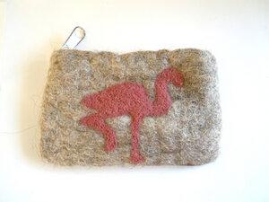 handgefilztes Portemonnaie  mit Reißverschluß aus 100% Schafswolle - short'n'pietz