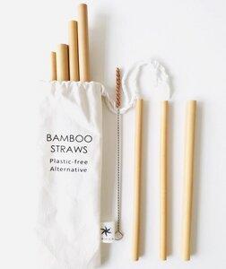 Bambus Strohhalme 7-Set mit Reinigungsbürste in einem Stoffbeutel - Kanika