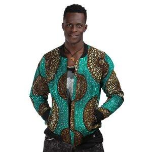 Bomberjacke 'Mandala' für Männer aus Westafrikanischem Kitenge Stoff - Africulture