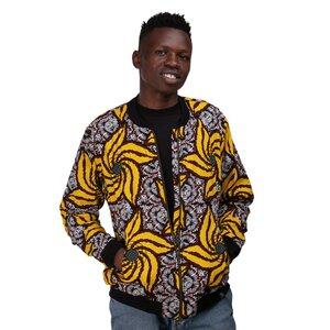 Bomberjacke 'Banananana' für Männer aus Westafrikanischem Kitenge und Kikoy Stoff - Africulture