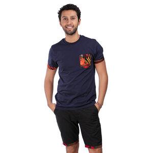 """T-Shirt Africulture """"Sunrise"""" mit Brusttasche aus Westafrikanischem Kitengestoff Navy - Africulture"""
