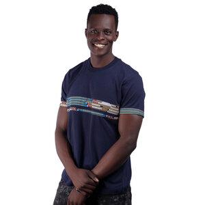 Africulture T-Shirt mit Westafrikanischem Kitengestoff Streifen Männer - Africulture