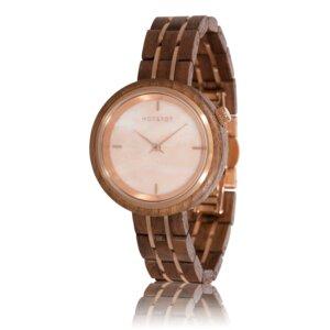 Armbanduhr aus Holz | Damen PHOENIX Nussbaumholz | Rosenquarz | 36 mm | handgemacht | vegan - HOT&TOT