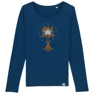Longsleeve W - Pachamama - Siebdruck  - black heather blue - Sacred Designs