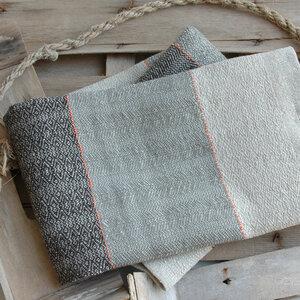 Handgewebtes Leinen-Handtuch aus 100 % Leinen, gestreift mit orangefarbenem Faden - tuchmacherin - handgewebtes design + filz