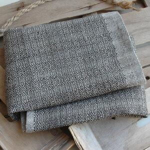 Handgewebtes Leinenhandtuch, Leinenhandtücher, schieferfarben - tuchmacherin - handgewebtes design + filz