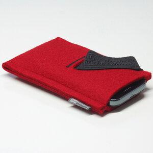Handyhülle Filz von tuchmacherin, Smartphone-Hülle, Filzhülle Handy rot - tuchmacherin - handgewebtes design + filz