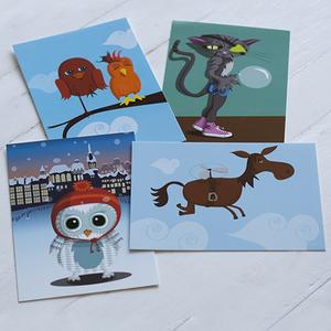 Postkartenpaket, 4 Stück - Printe