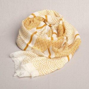 Schal handgewebt 100 % Wolle bedruckt aus Nepal - Maheela