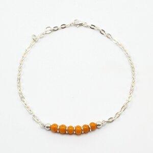 """Fußkette """"Step"""", Fair-Trade-Silberkette und -Glasperlen - steinfarben"""