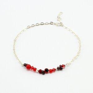 """Fußkette """"Itsy Bitsy"""", Fair-Trade-Silberkette mit Perlenmix - steinfarben"""