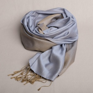 "Schal handgewebt 100 % Seide ""Khaki/Blau"" Double Faced aus Nepal - Maheela"