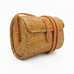 "Damen Tasche Rattan Korbtasche Basttasche | seasara ""made by Rohati"" oval 20 cm  - seasara"