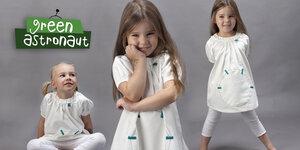 Sommerkleid - Elfenbeinweiss 100% Bio Baumwolle - green astronaut