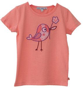 Kurzarmshirt Mädchen lachs mit Vogel Applikation 100% Baumwolle (bio)  - Enfant Terrible