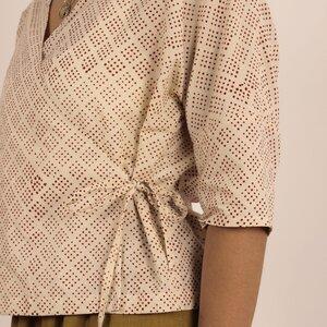 Damen Bluse zum Binden aus gemusterter Baumwolle - Passepartout